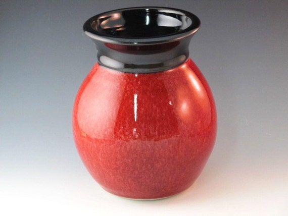 Red Glazed Vase With Black Rim....Reserved for Catherine