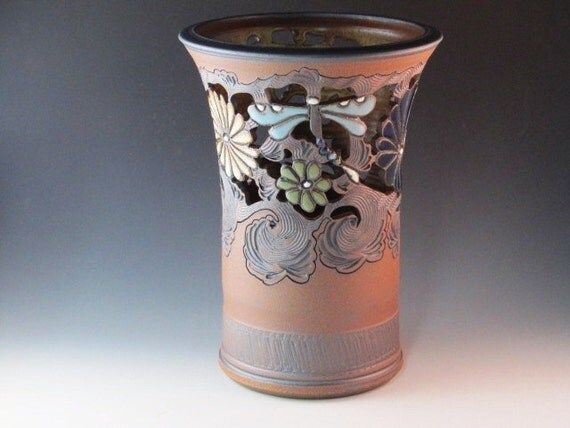 Large Vase With Dragonflies And Flowers And Swirl Design