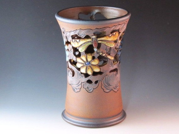 Medium Vase With Cutouts, Flowers, And Dragonflies With Swirl Design