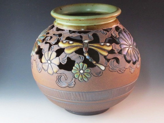 Large Cutout Vase With Dragonflies, Flowers, And Swirl Design