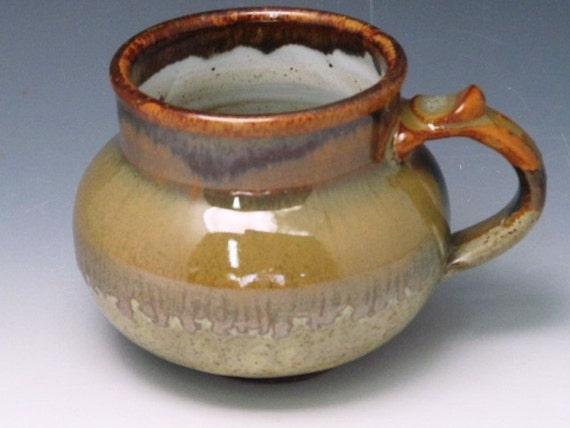 Mug With Soft browns And Soft Greens...RESERVED FOR EILEEN