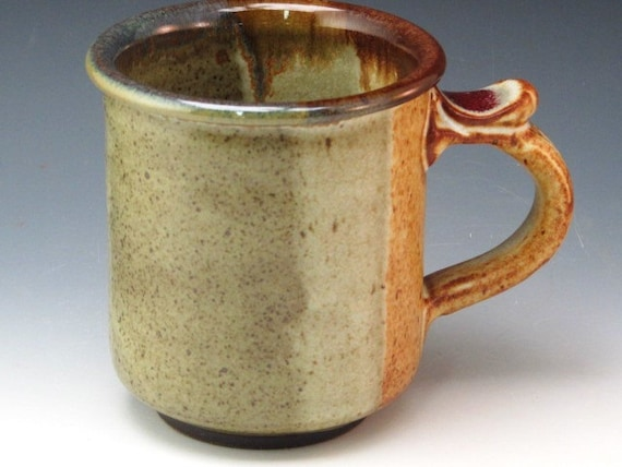Mug With Soft Greens And Soft Browns