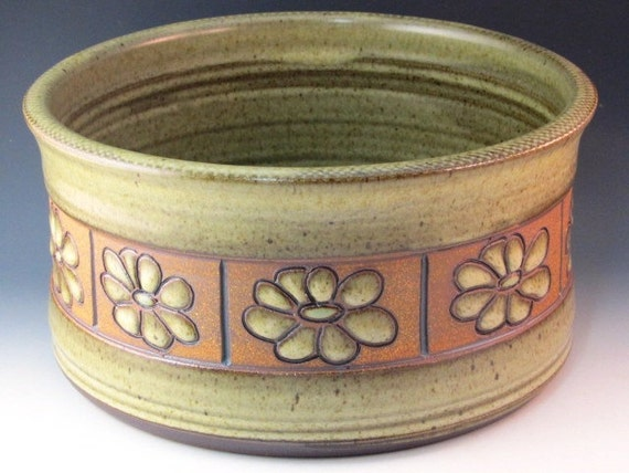 Open Casserole With Green Flowers And Textured Rim And Trimmed Bottom