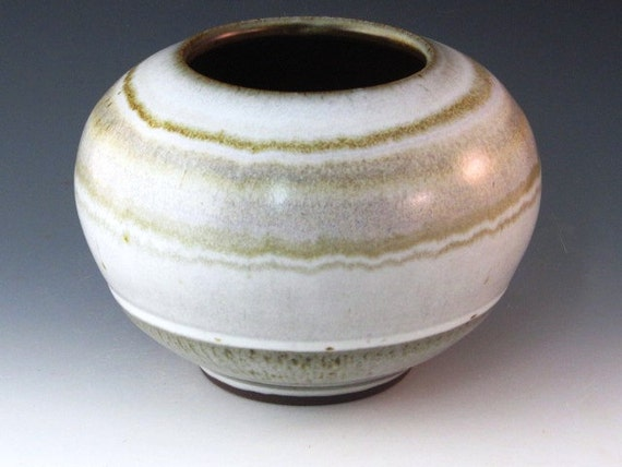 Beautiful Round Vase With Red Glaze Inside