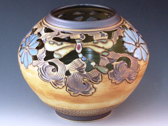 Wonderful Porcelain  Pot  With Carved Flowers, Dragonflies And Swirl Design