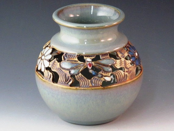 Beautiful Vase With Dragonflies, Flowers, And Swirl Design