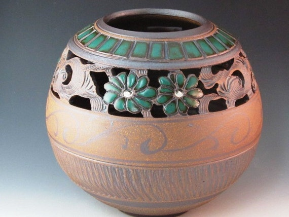 Beautiful Highly Decorated Vase With Green  Flowers, Brushwork, Swirl Design, And Texturing