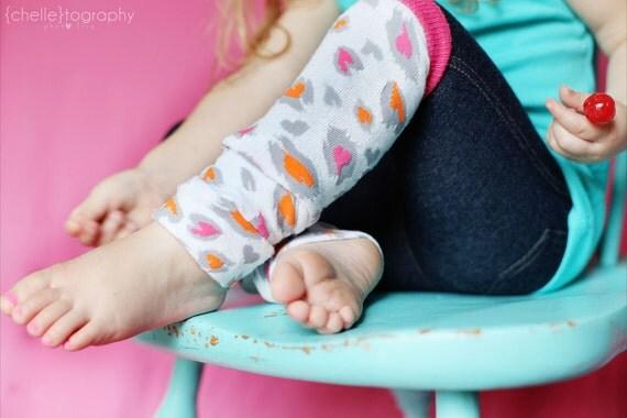Neon Pink Leopard Heart Baby/Toddler/Kid Leggings - Leg Warmers - Long Sleeves