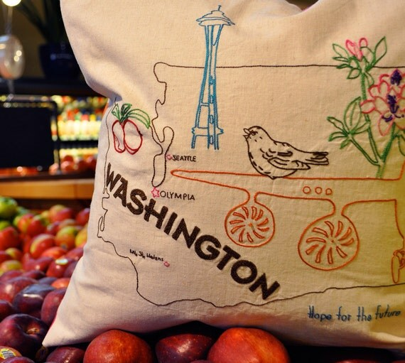 WASHINGTON / Embroidery Pattern / IRON-ON Transfer / State Pillow / Stitch & Color Guides