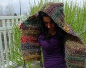 Purple and Wood Hooded Scarf
