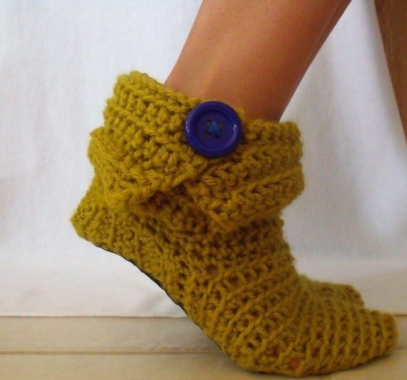 Green Crochet Ankle Boots