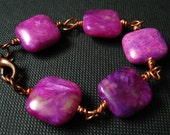 Hot Pink Jasper Copper Wire Wrapped Bracelet - For Girls