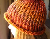 Knitted hat for Adults - Autumn Colors - red, orange, firey