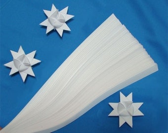 White Paper Strips for making Moravian German Froebel Stars - various sizes (50 strips per pack)