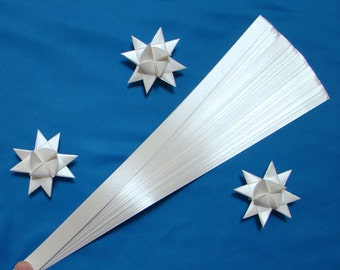 Pearlescent White Paper Strips for making Moravian German Froebel Stars - various sizes (50 strips per pack)