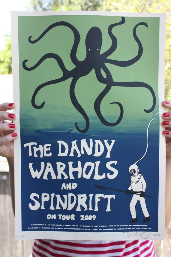 """Poster Dandy Warhols, Spindrift Tour, Silk Screen Print Octopus 12"""" x 18"""""""