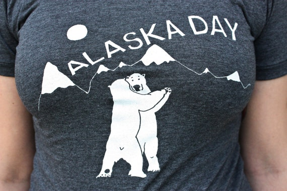 Polar Bears Screenprinted -  Alaska Day, American Apparel gray women's, only sz L left