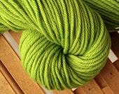 Bulky hand dyed yarn, green, 100% Superwash Merino Wool - Lemon Lime