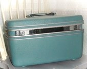 Reduced - Going on a trip...Vintage Samsonite Dark Teal Train Case Cosmetic Case