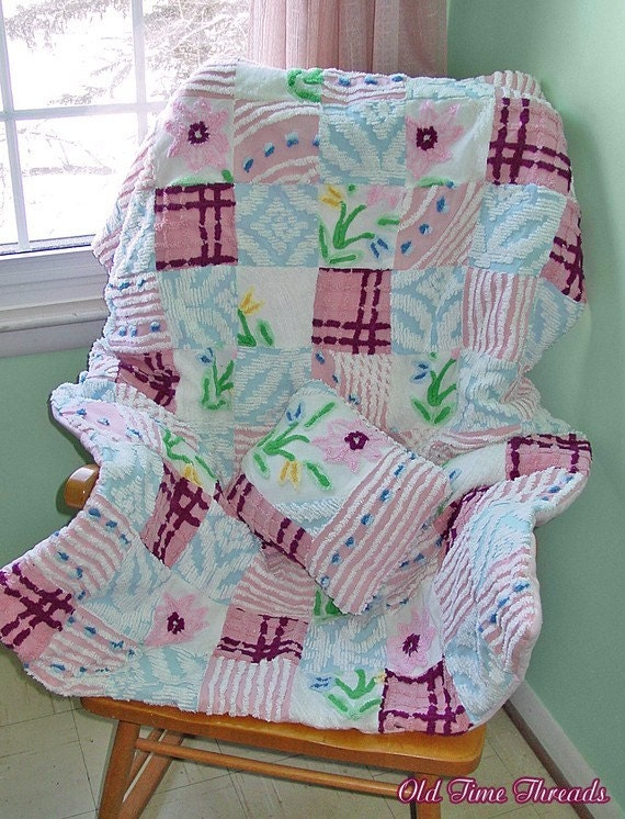 Reduced - Spring Blossoms Chenille Patchwork Throw size Lap Quilt and Pillow Set - Handmade