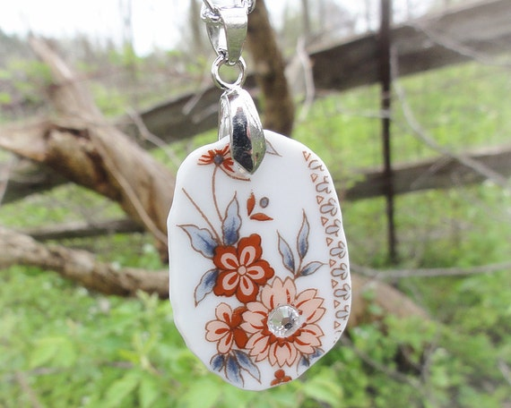 Brown and Peach Upcycled China Necklace with Swarovski Crystal