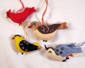 Vintage Felt Birds Ornaments