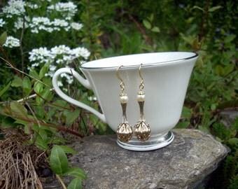 Wedding Earrings Pearls Gold Vintage Beads