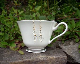 Wedding Earrings Crystals Gold Vintage Beads