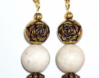 Unique Earrings Gold Rose Vintage Beads