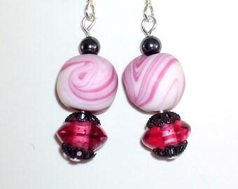 Unique Earrings Pink Swirl Vintage Beads