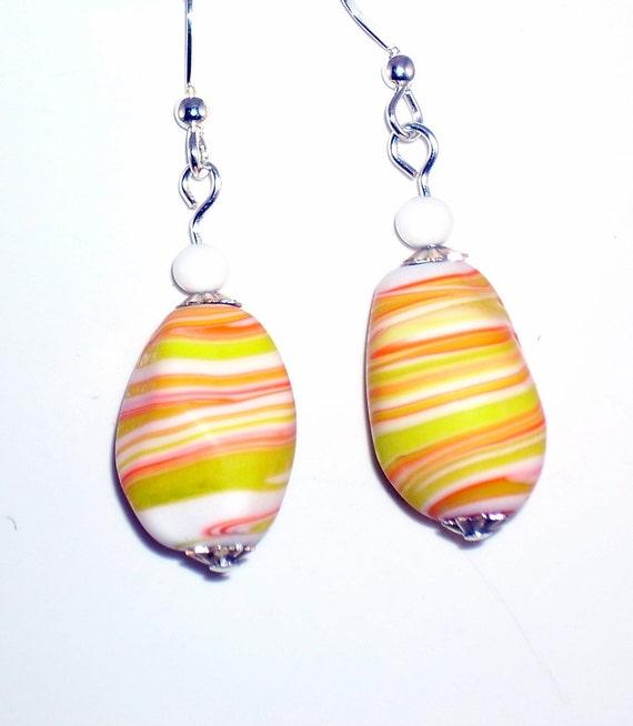 Unique Earrings Orange Yellow Vintage Beads