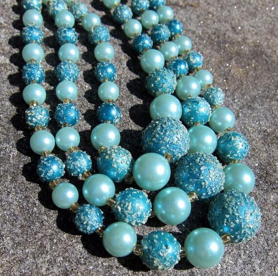 Vintage Necklace Triple Strand Aqua Blue