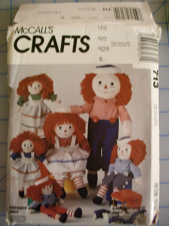 Raggedy Ann And Andy Doll Sewing Pattern Mccalls 713