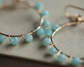 Blue Amazonite Earrings Hoop Gold Wire Wrapped