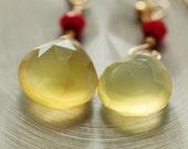 Yellow Chalcedony Dangle Earrings Stone Jewelry, Fall Jewelry