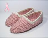 Crochet Slippers Pink Ballet for Breast Cancer Awareness - Small / Medium