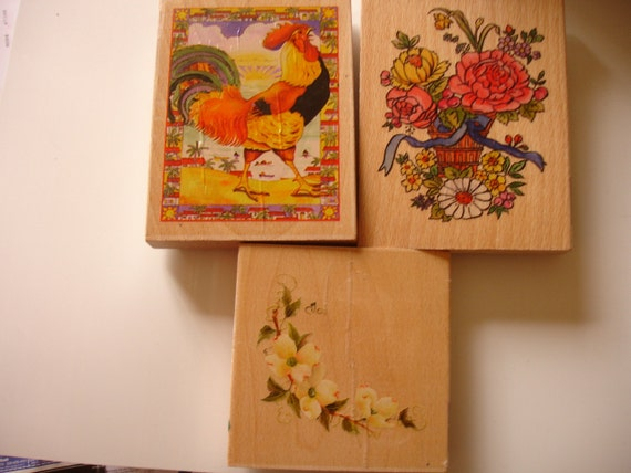 Rubber stamps, Flowers, Rooster
