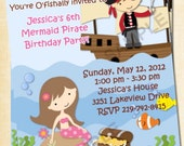 Pirate and Mermaid Custom Birthday Invitation, Photo Invitation, DIGITAL, Printable, Mermaid, Pirate, Thank You Card Available, A101