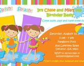 Water Fun Pool Party Custom Birthday Invitation, Photo Invitation, DIGITAL, Printable, Matching Thank You Card, Party Favors Available