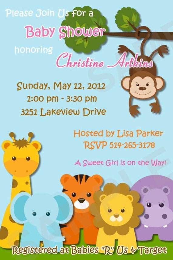 safari jungle animals baby shower invitation digital matching
