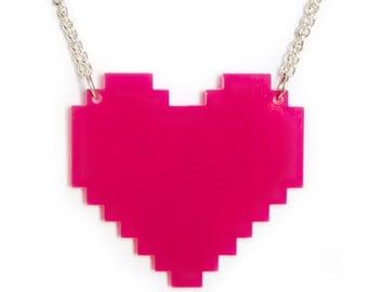 Digital Heart Necklace