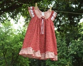 SALE : Maroon Red Tiny Blossom Dress AZALEA, Size 1-6 Years