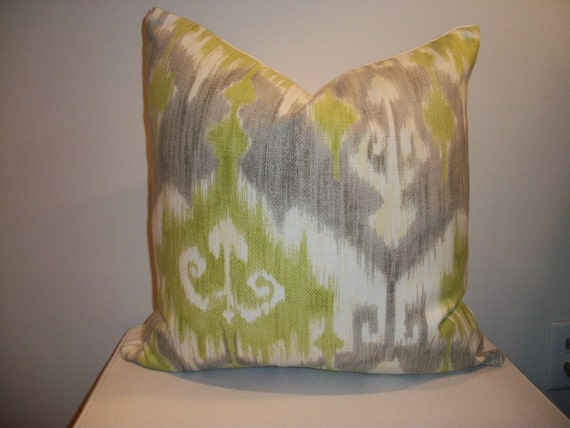 Items similar to Dorrigan Celery Designer Throw Pillow Cover Grey, Cream and Citrus Green Ikat ...