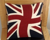 Throw pillow Union Jack UK flag cushion chenille 14 x 14 inches olympics queens jubilee