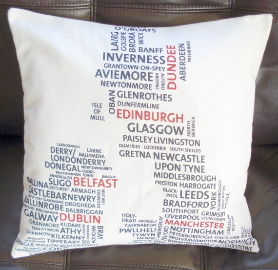 Pillow typography map England Ireland Wales Scotland UK city cushion cover black white red  16 x 16 inches olympics queens jubilee
