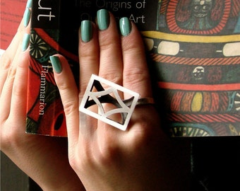 sterling silver ring geometric glamour