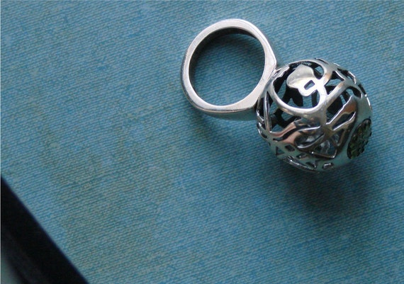 sterling silver ring orb of vines peace
