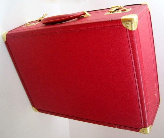 Red Vintage Suitcase Red Suitcase Briefcase Case by