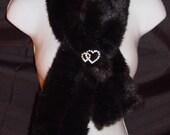 Black Faux Fur Pull through Scarf mink faux fur scarf