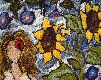 In the garden- hand hooked rug